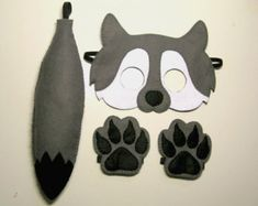 Wolf felt mask and tail set  for kids 2-10 years  Grey White