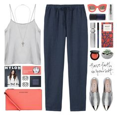 A fashion look from June 2016 featuring camisole tank top, navy linen pants and miu miu flats. Browse and shop related looks. Ask The Dust, Metallic Sneakers, Linen Trousers, Bobbi Brown, Polyvore Fashion, Fashion Looks, Stylish, My Style, Womens Fashion