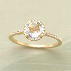 Gold engagement ring. Classic romance