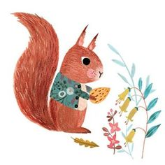 Dapper little squirrel by artist Rebecca Jones @drawnbyrebeccajones #animals…