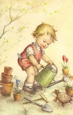Vintage Illustrations Illustration- boy with watering can - Illustrated by Bessie Pease Gutmann Images Vintage, Vintage Pictures, Vintage Cards, Vintage Postcards, Cute Pictures, Children's Book Illustration, Vintage Children, Vintage Prints, Illustrators
