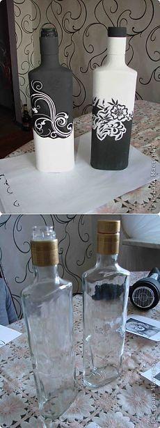 Черно-белый декор бутылочек (+ маленький МК)   Страна Мастеров