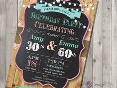 Adult Joint Birthday Invitation. Chalkboard.Country by ByDesignDen
