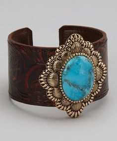 Another great find on #zulily! Barse Turquoise & Bronze Leather Oval Cuff by Barse #zulilyfinds