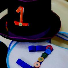 Birthday boy top hat and bib to match a Giggle and Hoot party :)