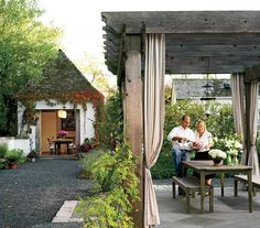 Frank and Becky Ponterio enjoy a glass of red in the pergola. The couple's wine collection is stored in a former carriage house that has been converted to a pour room (at left). Outdoor Rooms, Outdoor Gardens, Outdoor Living, Outdoor Decor, Outdoor Curtains, Outside Room, Outside Living, Fresco, Wood Pergola