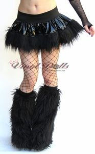 Black Vinyl with Black Fur Club Wear Skirt