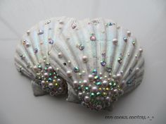 White Iridescent Glitter AB Rhinestone Pearl Sea Shell Mermaid Siren Bra