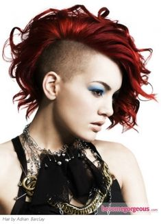 Alternative Girl, Destopian Fashion, Post-Apocalyptic Fashion, Shaved Side Hairstyle, Futuristic Style, Side Cut, Punk Hairstyle, Girl in Black, Punk Girl, Red Hair