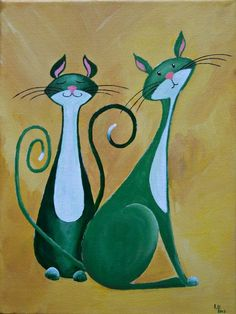 """Pensive Cats in Green"" by 'NaturelandsAndCo' on Etsy ♥≻★≺♥:"