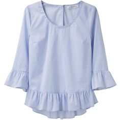 Viktor & Rolf Ruffled Chambray Blouse ($198) ❤ liked on Polyvore featuring tops, blouses, shirts, blusas, blue chambray shirt, blue crop top, blue blouse, blue 3/4 sleeve shirt and blue ruffle shirt