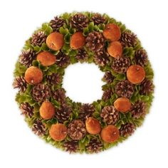 """A gorgeous wreath to bring a warm feeling into your fall home. 18 Inch Rusty toned Apple and Pinecone Wreath. Artificial but Made to look so realistic, suitable for indoor or outdoor use.  18""""Dia."""