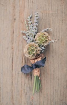 Scabiosa pod boutonniere We love the scabisoa pods for the groomsmen but we were told they break easily and are going out of season - we would love these paired with wax flowers or something that is similar to this