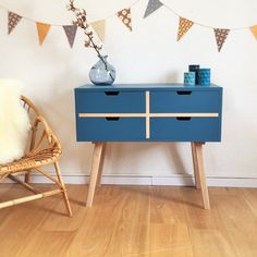 Chest of drawers, dresser, cabinet, Scandinavian & mid century desig, blue colos, model Sidonie by ChouetteFabrique on Etsy https://www.etsy.com/uk/listing/226841067/chest-of-drawers-dresser-cabinet