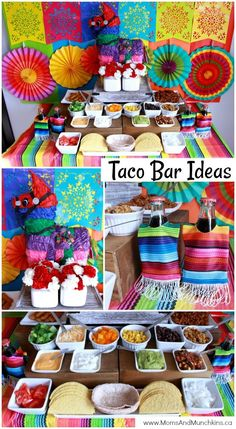 Bar Ideas Taco Bar - a unique buffet idea for your next party! Includes ideas for decorating, food, dessert and more!Taco Bar - a unique buffet idea for your next party! Includes ideas for decorating, food, dessert and more! Mexican Birthday Parties, Mexican Fiesta Party, Fiesta Theme Party, Birthday Party Themes, Birthday Ideas, Fiesta Party Decorations, Fiesta Party Foods, Fiesta Gender Reveal Party, Mexican Candy Buffet