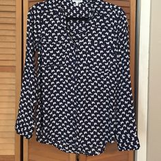 Express Portofino Blouse - Size medium Express Portofino blouse - navy with white butterfly print; excellent condition. Bundle and buy! Express Tops Blouses