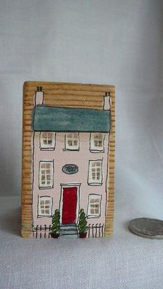 handpainted miniature house wooden block by SallysShed on Etsy, $24.30