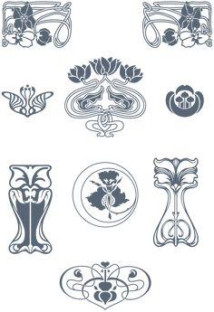 Art Nouveau Pattern, Art Nouveau Design, Art Nouveau Tattoo, Art Nouveau Interior, L Tattoo, Tattoo Background, Deco Paint, Art Nouveau Illustration, Art And Craft Design