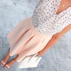 StylishPetite.com |  Peach pleated skirt, polka dot chiffon ruffle top, Kate Spade cedar street maise satchel