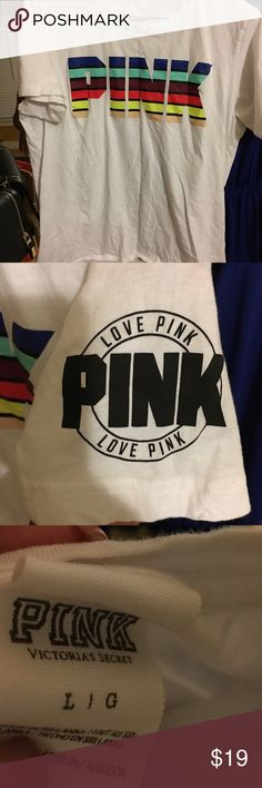 Victoria Secret PINK cotton tee. Victoria Secret PINK cotton tee.  Size large. Worn once and washed. PINK logo on front and left sleeve‼️ short sleeve. PINK Victoria's Secret Tops Tees - Short Sleeve