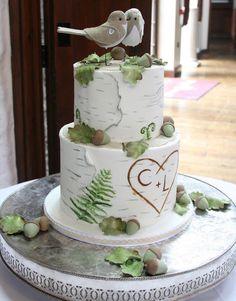 Woodland theme Wedding Cake - Silver Birch/Oak Leaves/Acorn sugar details - Lovebird Toppers www.cakeexpectationscardiff.co.uk (Wedding Cake Silver)