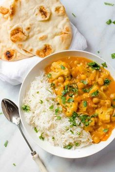 This Chickpea and Cauliflower Curry is packed with exotic flavor, but only takes about 20 minutes to come together from start to finish thanks to using curry paste. You can find curry paste in the international food section of most supermarkets! Chickpea Recipes, Veggie Recipes, Indian Food Recipes, Whole Food Recipes, Vegetarian Recipes, Cooking Recipes, Healthy Recipes, Turkish Recipes, Garbanzo Bean Recipes
