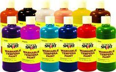 School Smart Washable Tempera Paint Set, 1 Pint Plastic Bottle, Assorted Color, Set of 12 - Sam's Club Painting For Kids, Art For Kids, Pencil Grip, Green School, Painting Activities, Kid Activities, Washable Paint, Thing 1, Paint Set