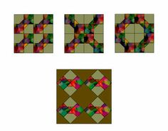 Groups of four easy Bow Tie quilt blocks, each grouped arranged in a different way.