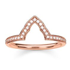 Thomas Sabo Silver Rose Gold Plated Cubic Zirconia Stacking Ring TR2070-416-14 | The Jewel Hut