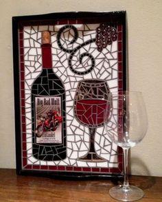 Unique Label Wine Bottle Mosaic Glass Serving by 8MileMosaics