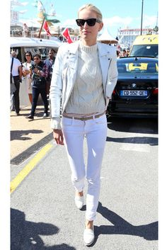 Jean Queens: Karolina Kurkova takes a summery approach to denim in Cannes in this all-white ensemble, complete with fresh white skinny jeans.