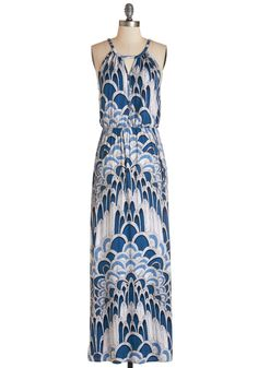 Ink Positively Dress in Feathers. Smiles abound when you wear this patterned maxi dress, which is exclusive to ModCloth! #blue #modcloth