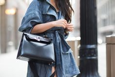 Chicago :: Linen trench & Crossover platforms :: Outfit :: Top :: Marissa Webb linen trench, Marissa Webb top Bottom :: Alice + Olivia Bag :: Hermes Shoes :: Aquazzura Accessories :: Karen Walker sunglasses Published: July 6, 2015