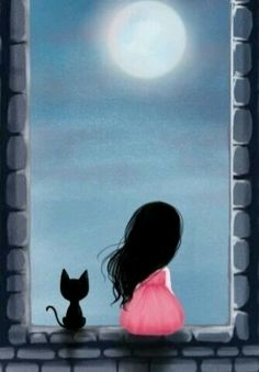 Gorjuss - window with a black cat and a girl Art Mignon, Illustration Art, Illustrations, Crazy Cats, Cat Art, Painting & Drawing, Drawing Tutorials, Art Drawings, Art Photography