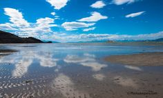 Reflection of clouds and blue sky in the Great Salt Lake