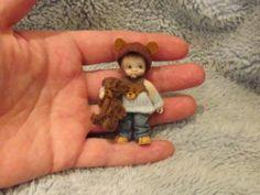 Miniature handmade MINI BABY BOY & TEDDY BEAR ooak DOLLHOUSE ART DOLL HOUSE 1/12