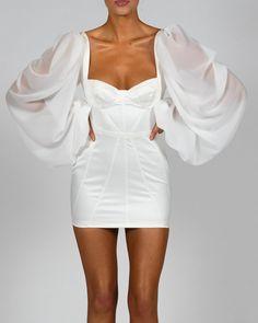 Glam Dresses, Satin Dresses, Pretty Dresses, Beautiful Dresses, Casual Dresses, Fashion Dresses, Womens Party Dresses, White Satin Dress, White Dress Outfit