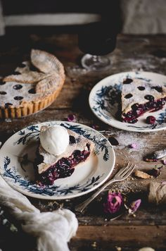 Rhubarb, raspberry & wild blueberry pie with ice cream
