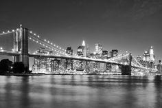 Bright Brooklyn Bridge - b/w -             Fotobehang & Behang -           Photowall