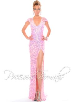 Dazzling pink sequin dress with sexy leg slit
