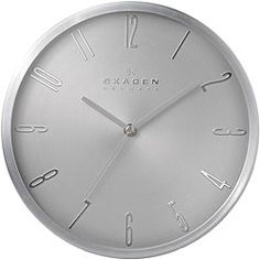 @Overstock - The clean style of this unique wall clock is an instant must have. A round, contemporary matte silver case strikingly contrasts with its silver hands for a sleek look that will add style and simple function to any decor.http://www.overstock.com/Home-Garden/Skagen-12-inch-Stainless-Steel-Wall-Clock/6751294/product.html?CID=214117 $79.99