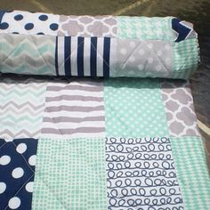 Nautical Baby quilt,navy blue,grey,mint green,Baby boy bedding,baby girl quilt,Patchwork Crib quilt,chevron quilt,modern,toddler,Mint Julep
