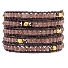 Strawberry Quartz and Gold Mix Wrap Bracelet on Natural Dark Brown Leather Change