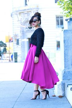 High Low Bow Skirt in Fuchsia