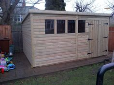 wooden garden shed 10x4 12x4 14x4 pressure treated tongue and groove pent shed patios