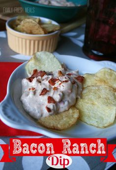 Bacon and ranch were born to be together, don't you think? Bacon Ranch Dip - FamilyFreshMeals.com