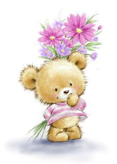 Tatty Teddy, Canvas Artwork, Canvas Art Prints, Cartoon Drawings, Cute Drawings, Teddy Bear Pictures, Bear Drawing, Holding Flowers, Flower Canvas