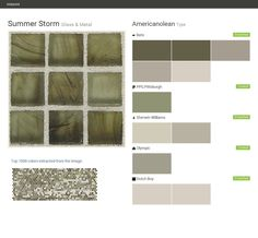 Summer Storm. Glass & Metal. Type. Americanolean. Behr. PPG Pittsburgh. Sherwin Williams. Olympic. Dutch Boy.  Click the gray Visit button to see the matching paint names.