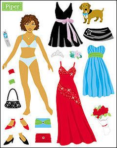 Piper, teen black / African-American / person of color paperdoll - Miss Missy Paper Dolls