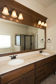 Double vanity and separate shower and bath in this beautiful master bathroom.